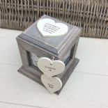 Shabby Chic In Memory Of A Son ANY NAME Rustic Wood Personalised Photo CUBE Box - 232994689446